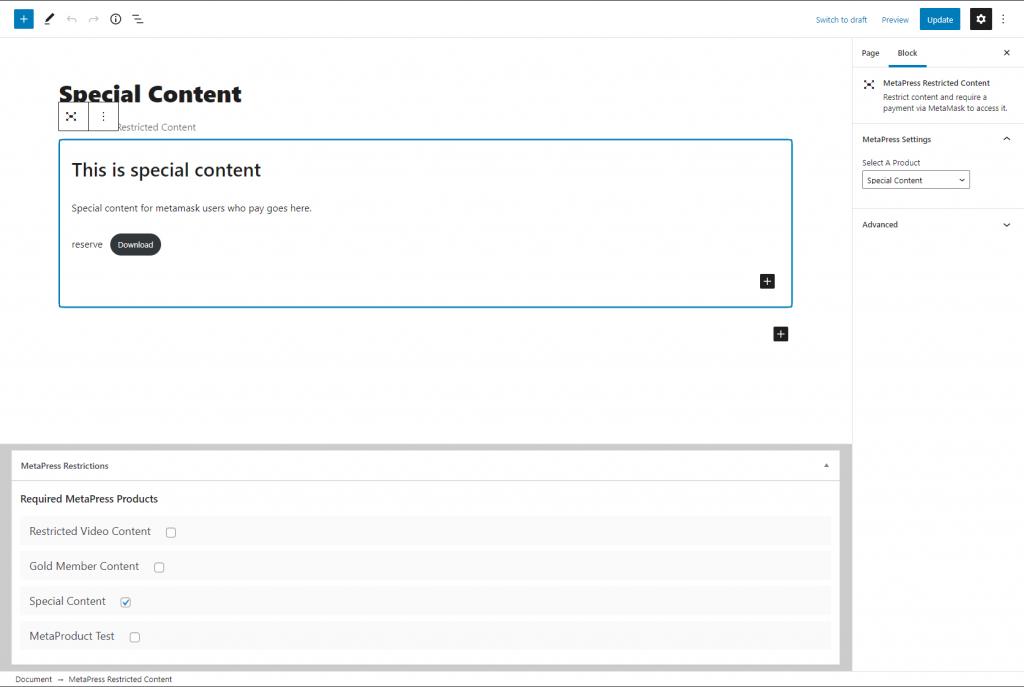MetaPress Restrict WordPress Content